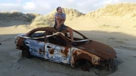NZ Autowrack am Strand