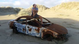 NZ Autowrack am Strand