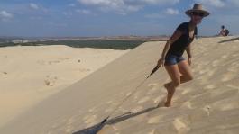White Dunes mit dem Bodyboard